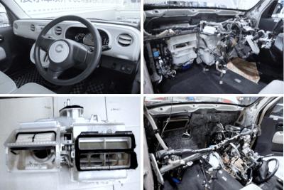 オートバックスやイエローハットでは難しいとされるエアコンパネルを脱着して修理する風景